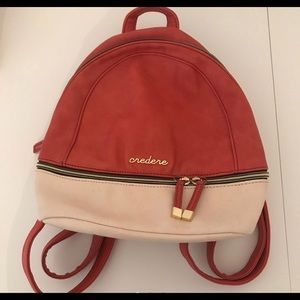 🍒CREDERE CORAL RED AND CREAM BACKPACK